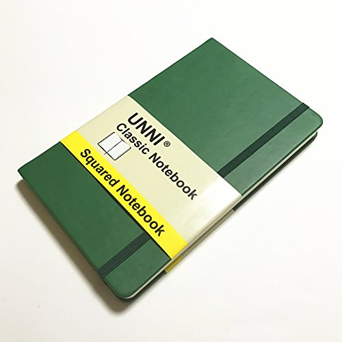 """Unni Classic Notebook Journal, Size:5"""" X 8.25"""", A5, Squared, Green, 240 Pages, Hard Cover/Fine PU Leather, Writing Notebook, Diary Journal, Banded journal, Bookmark, Hardbound"""