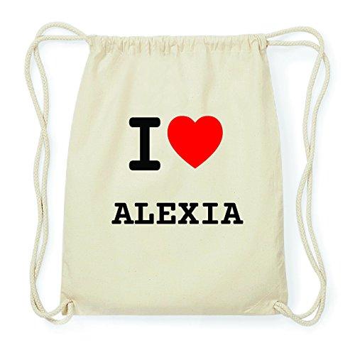 JOllify ALEXIA Hipster Turnbeutel Tasche Rucksack aus Baumwolle - Farbe: natur Design: I love- Ich liebe 5023Y1