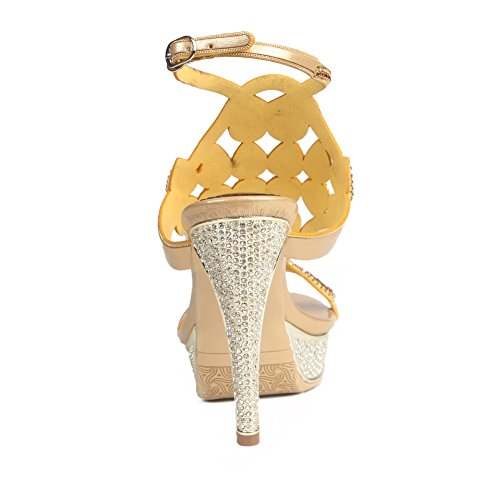 Mujeres Mid Party Heel Diamante Señoras NVXIE Low Oro Sandalias Strappy Prom High Zapatos Tamaño Prom aEdxUqw