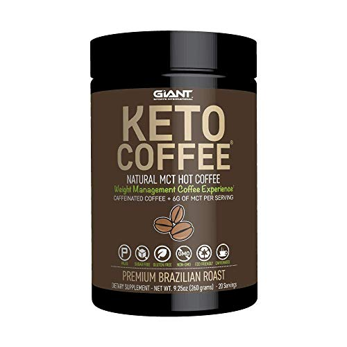 Keto Coffee – Keto-Friendly Instant Fat Coffee Drink with MCTs for Ketogenic Diet- Boost Ketone Production and Energy, Caffeinated 20 Servings