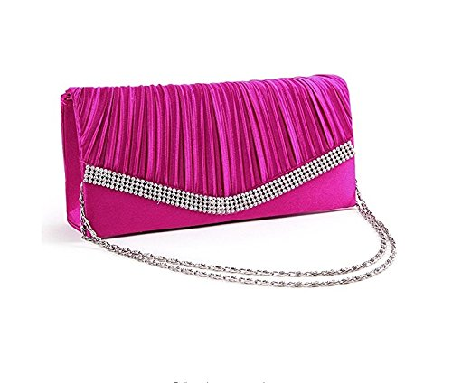 red Chain Rose Clutch w Shoulder for Bag Elegant Ladies Evening Rhinestone Kelaina Handbag Satin 7OFq0