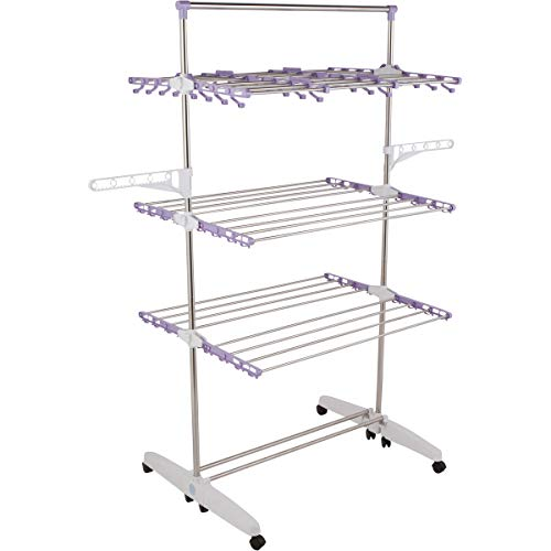 !iT Jeans High Capacity Heavy Duty 3-Tier Premium Clothes Drying Rack - Fully Adjustable Stainless Steel Racks - Fully Foldable - 8 Casters - Indoor & ()
