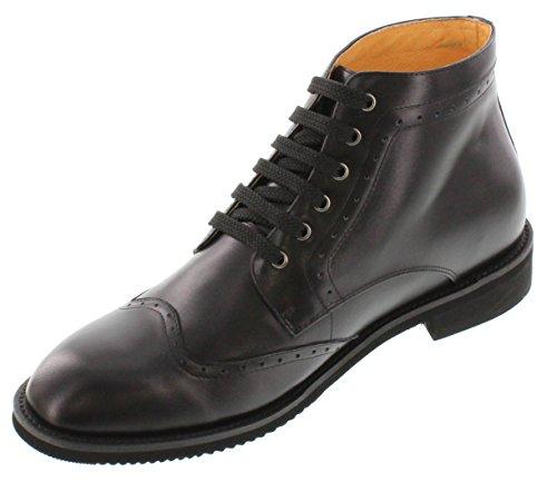 Toto-a25011-7,1cm Grande Taille-Hauteur Augmenter Chaussures ascenseur-Noir à Lacets Bottes