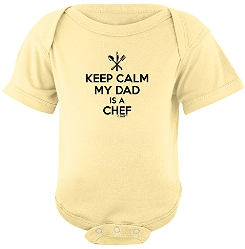 Toddler Clothes Keep Calm My Dad is a Chef Bodysuit 12 Months Banana