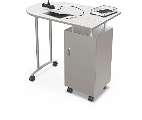 Balt Stand Up Mobile Teacher Workstation Desk, Grey Nebula Top, 40