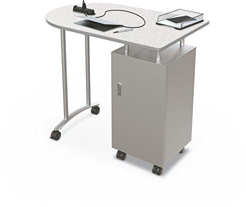 Balt Steel Workstation - Balt Stand Up Mobile Teacher Workstation Desk, Grey Nebula Top, 40