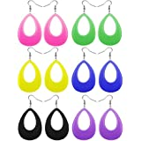 FUTTMI 6 Pairs 80s Retro Earrings For Women Girls Acrylic Neon Dangle Drop Earrings For 80s Party Colorful Costume Earrings Accessory