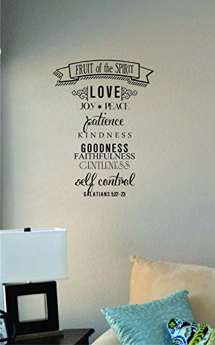 Fruit of the Spirit Love Joy Peace Patience Kindness Goodness Faithfulness Gentleness Self Control. Galatians 5:22-23 Vinyl Wall Art Decal Sticker