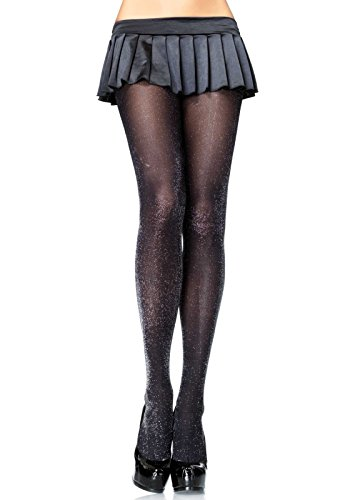 Black Tights Shimmer (Leg Avenue Women's Glitter Lurex Tights, Black/Silver, One Size)