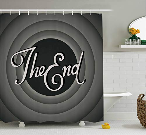 Ambesonne 1950s Decor Collection, Vintage Movie Ending Screen Camera Hollywood Industry Historic Entertainment Film Tv Image, Polyester Fabric Bathroom Shower Curtain, 84 Inches Extra Long, Grey -
