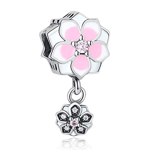 Fashbag Bead Charms for Jewelry Making,DIY Silver Charm Fit Original Bracelet Beads 925 Sterling Silver Love Dangle Charm Crystal Heart,Flower,Tower,Tree Bead PY1399