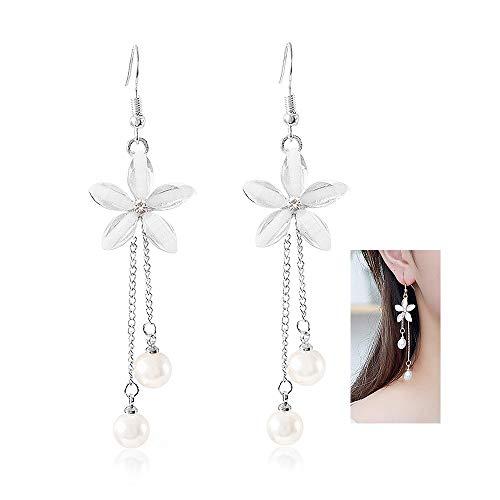 YOOE Women's Flower Shaped Long Dangle Earrings♥ Elegant Freshwater Cultured Pearl Earrings.Romantic Lily Tassel Earrings Girl's Gift (Silver) ()