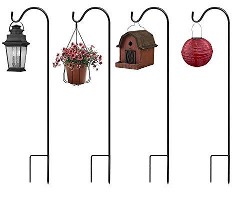 ERYTLLY Extendable Shepherd Hooks,36.5 inch Black Garden Planter Stakes-Heavy Duty Rust Resistant Premium Metal Hook Hangers for Weddings, Plant Baskets Solar Lights Lantern Bird(4 Pack)