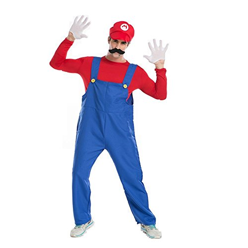 Halloween Costume Cosplay Super Mario Brothers Mario Adult Costume (Red&Large Size)