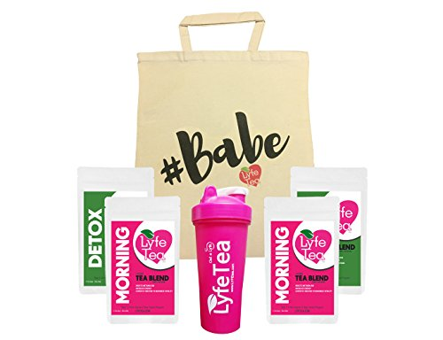 28 Day #Babe Bag Bundle with Shaker Bottle - Teatox Natural Weight Loss - Lyfe Tea Herbal Cleanse Tea Bags - Aid Digestion, Boost Energy, Elevate Mood, Suppress Appetite by Lyfe Tea