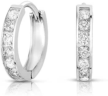 Sterling Silver Huggie Hoop Earring Channel Set with Cubic Zirconia (Size 1/2