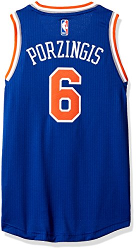 fan products of NBA New York Knicks Kristaps Porziņģis Boys Player Swingman Road Jersey, Medium (10-12), Blue