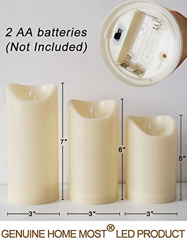 HOME MOST Set of 3 LED Pillar Candles Battery Operated (IVORY, 5''/6''/7'' Tall, Oblique Edge)- Flameless Candles Timer Outdoor Candles Waterproof - Electric Candles Battery Operated Plastic Candles Bulk by HOME MOST (Image #6)