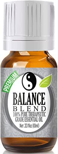 Balance Essential Oil Blend 100% Pure, Best Therapeutic Grade - 10ml - Comparable to Young Living Valor and Doterra Balance - Ho Wood, Frankincense, Lemon, Camphor, German Chamomile, Ravensara