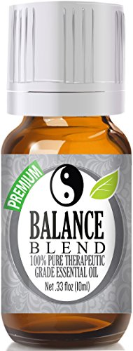 Balance Essential Oil Blend 100% Pure, Best Therapeutic Grade - 10ml - Ho Wood, Frankincense, Lemon, Camphor, German Chamomile, Ravensara