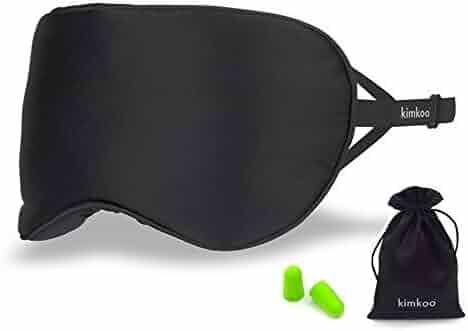 Kimkoo Silk Sleep Mask - Soft Eye Mask for Sleeping with Adjustable Strap&Ear Plugs,Blindfold,Eye Cover Blocks Out Light-Black …