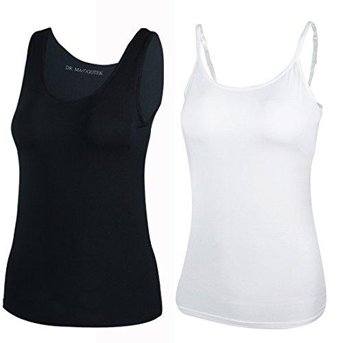 DR. MAのGOTEK Camisoles for Women with Built-in Shelf Bras, Comfortable Padded Bra Women cami, Wide Straps Tank Top (Medium, (Padded Bra Top)