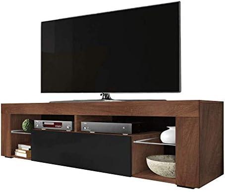 Selsey BIANKO - Mueble TV Moderno/Mesa TV/Mueble para Salón / 140 cm (sin LED, Nogal/Negro Brillante): Amazon.es: Electrónica