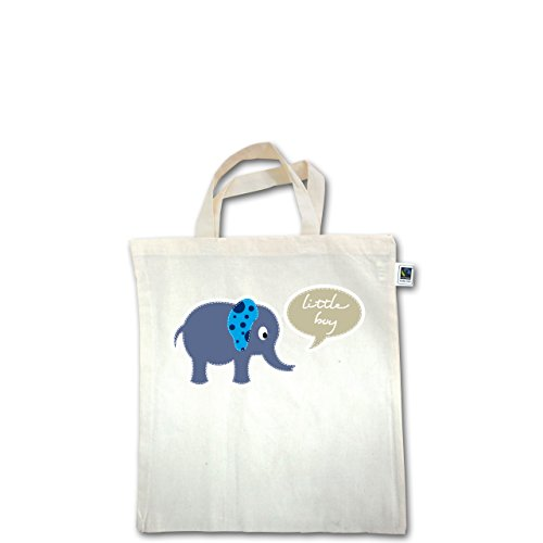 Up to Date Kind - Elefant blau little boy - Unisize - Natural - XT500 - Fairtrade Henkeltasche / Jutebeutel mit kurzen Henkeln aus Bio-Baumwolle