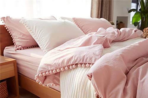 TanNicoor Pom Fringe Duvet Cover Set - 3 Piece Natural Ultra SOFE Color Washed Cotton Bedding Set, Modern Style Down Comforter Quilt Cover with Zipper Closure(Queen,Peach Pink) (Pink Quilt Blush)