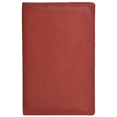 HiLEDER Premium Sheep Nappa Leather Bifold Restaurant Hotel Bill Folder Holder, Red