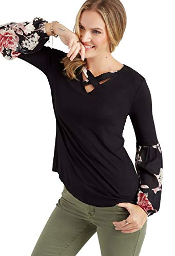 maurices Women's Floral Chiffon Sleeve Lattice Neck Top X Large Black Combo from maurices