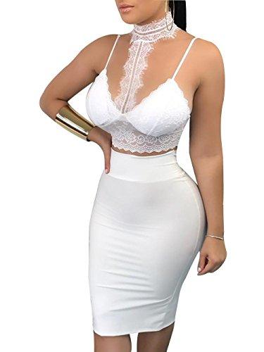 - Onavy 2 Pcs Women Sheer Halter Neck Backless Sleeveless Lace Crop Top + Bodycon Bandage Midi Dress Club Dress (L, White)