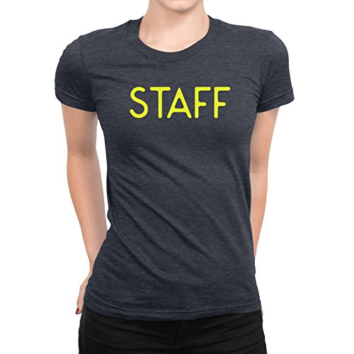 NYC FACTORY Staff T-Shirt Ladies Screen Printed Tee Printed Front & Back Staff Event Shirt (Heather Charcoal, XL) - Back Screen Printed