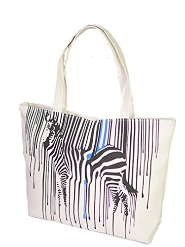 Print Large Shopper Handbag - Flowertree Women's Coated Canvas Black Zebra Tote Bag Beige