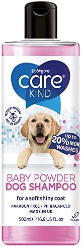 CAREKIND Baby Powder Dog Shampoo 500ml professional dog grooming shampoo for smelly dogs with baby fresh scent, best puppy shampoo with conditioner, Vegan pet shampoo (1x 500ml)