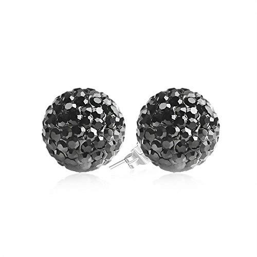 BAYUEBA 925 Sterling Silver Crystal Ball Stud Earrings 10mm Black ()