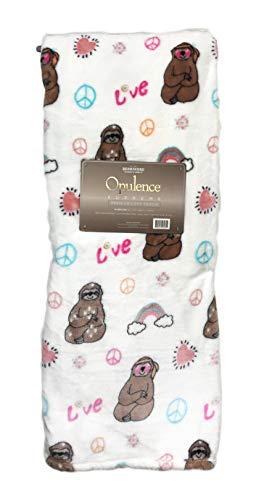 "Opulence Supreme Peace and Love Hippy Sloths Decorative Cozy Premium Loft Plush Throw Blanket 55"" x 70"""