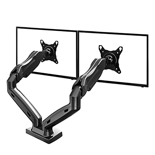 "North Bayou Dual Monitor Mount LCD LED Monitor Desk Mount Stand for 17"" – 27 inch 2 Screens up to 14.3 lbs VESA 75x75 100x100 F160"