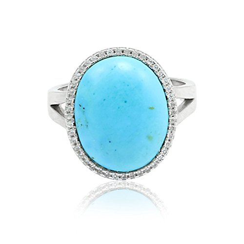 (Blue Apple Co. Halo Split Shank Wedding Engagement Ring Oval Cabochon Simulated Turquoise Round CZ 925 Sterling Silver )