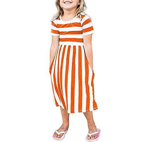 Lurryly Toddler Baby Girls Striped Dress Party Beachwear Dresses Outfits Sundress 6-9T (Size:7T, Label Size:M, Orange)