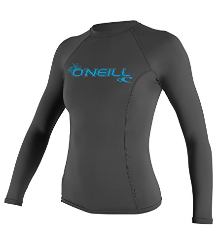 O'Neill Wetsuits Women's Basic Skins Upf 50+ Long Sleeve Rash Guard, Graphite, - Wetsuits Ladies