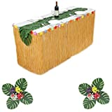 Suppromo 9ft Yellow Grass Table Skirt Hawaiian Luau Table Skirt with 12pcs Palm Leaves and Hibiscus Flowers, Leaf Table Runner for Luau Party Supplies,Raffia Table Skirt