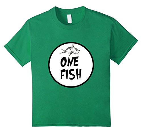 Kids Cute Rhyming One Fish T-shirt | Matching Croup Costume 12 Kelly (Family Themed Group Halloween Costume Ideas)