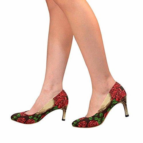 Vestito Da Donna Di Alta Moda Stile Classico Tacco Alto Pompa Colore Disegnato A Mano Teschi E Rose Rosse