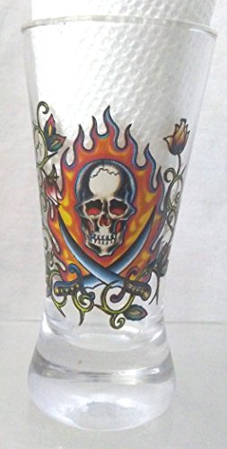 Hardy Glass (Ed Hardy Skull/Swords/Fire Large Shot Glass, Love Kills Slowly Large Shot Glass, Skull, Swords/Fire Shot Glass)