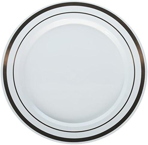 (19cm ) - Amscan 7 Chevron with Gold Trims Premium Plates Party Supplies, White/Rose Gold, 7 1/2