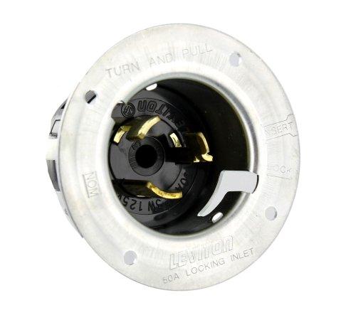 Leviton CS6375 50 Amp, 125/250 Volt AC, Black & White Locking Flanged Inlet, Industrial Grade, Grounding, California-Style, Gray Metal