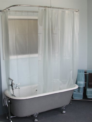 DL Extra Wide Vinyl Shower Curtain For A Clawfoot Tub Opaque Without Magnets 180quot