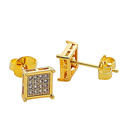 Mens Square Earrings Stud Gold Diamond Crystal Small 316L Surgical Stainless Steel Post for Sensitive Ears Cool Guy Jewelry Gift Men,Women Unisex 7mm -Bala ()