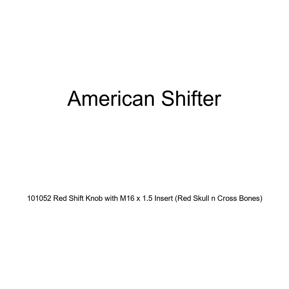 American Shifter 101052 Red Shift Knob with M16 x 1.5 Insert Red Skull n Cross Bones